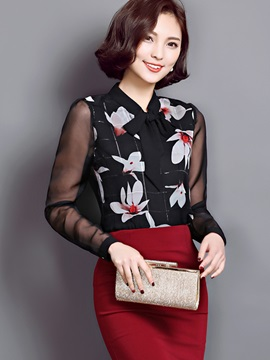 Stylish Printed See Through Sleeve Slim Shirt