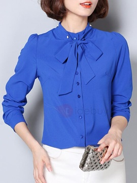 Stylish Solid Color Bowknot Decorated Neck Slim Shirt