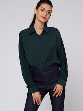 Simple Plain Long Sleeve Loose Shirt