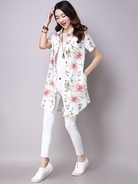 Stylish Flower Print Mid-Length Shirt