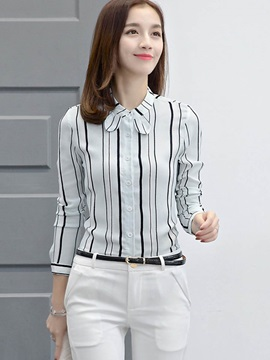 Stylish Stripe Bowknot Neck Slim Shirt