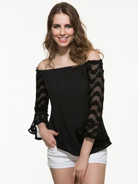 Fashion Lace Slash Neck Sexy Shirt