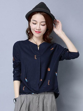 Stylish Imprint Loose Shirt