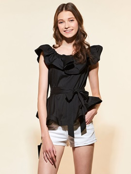 Stylish Plain Ruffled Collar Short Shirt