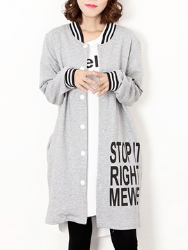 Letters Pattern Stand Collar Open-Front Hoodie