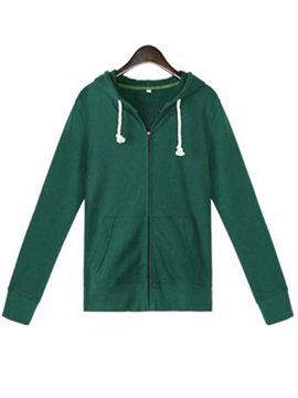 Simple  Lace-up  Hooded  Short  Hoodie