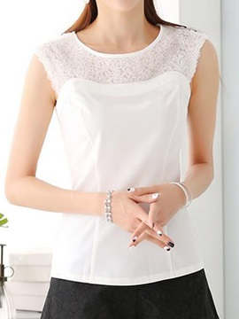Special Fabric Collar Slim Tank Top