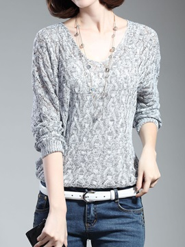 Multi Color Loose Long Sleeve V-neckline Cut-Outs Knitwear
