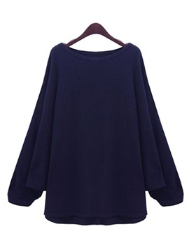 Simple  Batwing  Sleeves  Loose  Sweater