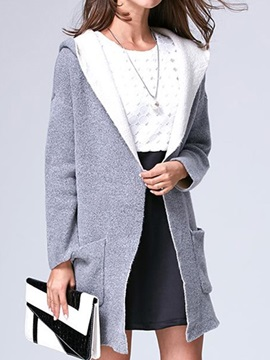 Big  Pocket  Hooded  Loose  Cardigan