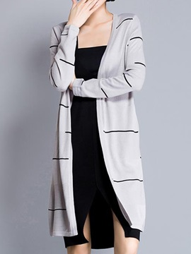 Chic  Stripe  Long  Cardigan