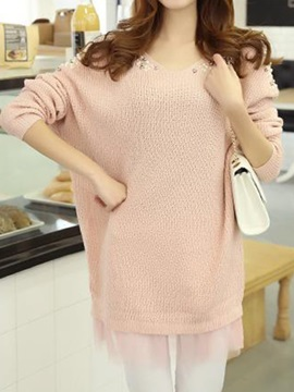 Chic  Bead  Decoration  Batwing  Sleeves Sweater