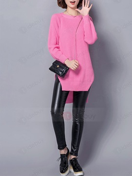 Stylish Solid Color Irregular Plain Stitch Sweater