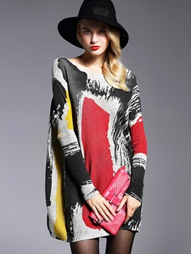 Cool Colorful Pattern Mid-Length Loose Knitwear