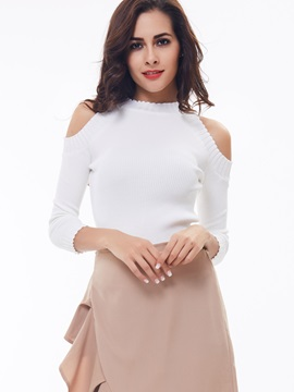 Stylish Stand Collar Off-Shoulder Sweater