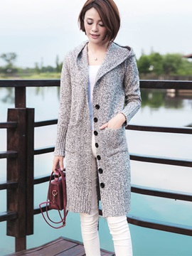 Casual Button Hooded Cardigan