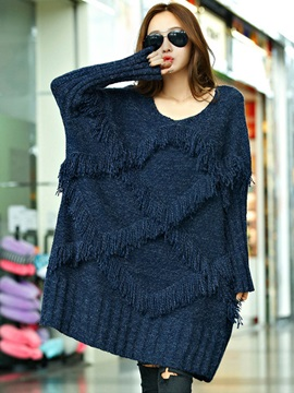 Stylish Tassel Loose Mid-Length Sweater