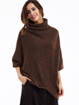 Stylish Plain Turtleneck Batwing Sleeves Sweater