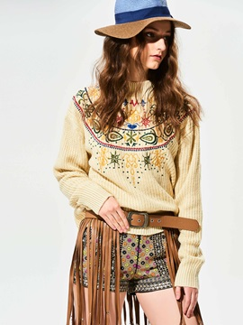 Stylish Plain Geometric Pattern Embroideried Knitwear