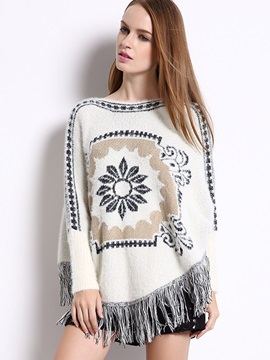 Ethnic Tassel Decorated Knitted Cape