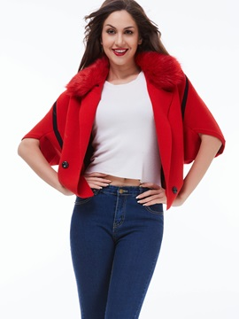 Stylish Fur Collar Slim Cape