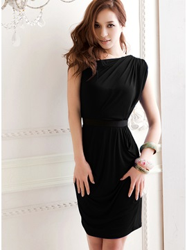Amazing One Shoulder Slanting Pure Black Color Sexy Party Dress With Belt