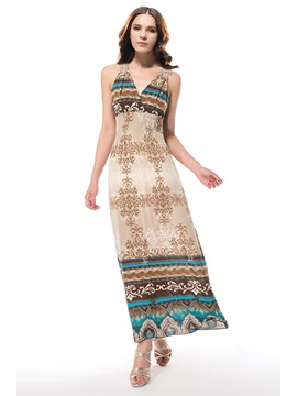 New Elegant Wrapped Neck Bohemian Summer  Dress