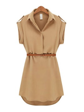 Slim Khaki Color Polo Cap Sleeve Short Day Dresses With Belt