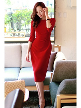 Red Backless Split Three Quarter Sleeve Dress