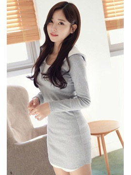 New Pure Color Long Sleeve Hooded Sheath Dress