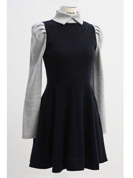 New Style Solid Color Block Lapel Day Dress