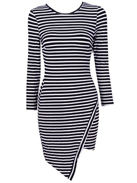 Stripe Asym Hem Long Sleeve Dress