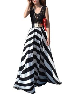 Stripe Lace Patchwork Maxi Dress