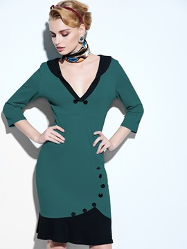 Green V-Neck Three-Quarter Sleeve Mermaid Dress