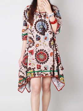Round Neck Print Asym Women's Casual Dress