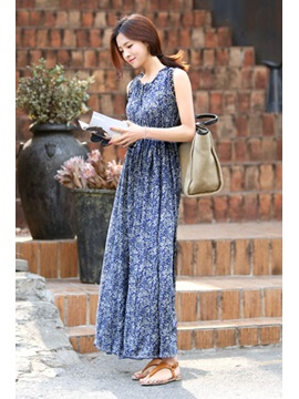 Fashion Polyester Little Flowers Maxi Dress