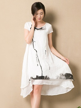 Causal Asymmetric Day Dress