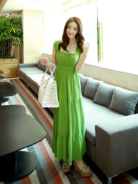 European Pleated Long Day Dress