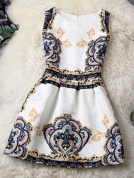 European Style Printed Day Dress