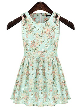 Sweet Floral Printed Sleeveless Day Dress