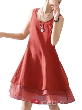 Casual Linen Layered Day Dress