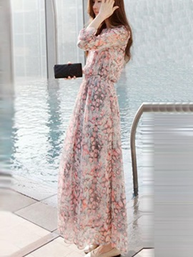 Bohemian Chiffon Floral Print  Dress