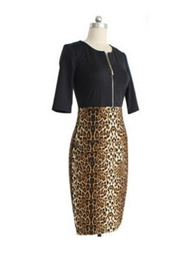 Leopard Color Block Zipper Bodycon Dress