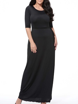 Plain Crew-Neck Sheath Plus Size Dress