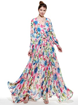 Floral Print Long-Sleeve Maxi Dress