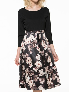 Floral Print Sleeve Empire Waist Dress