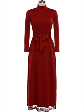 Solid Long Sleeve Bowknot Maxi Dress
