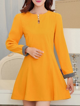 Round Neck Long Sleeve Day Dress