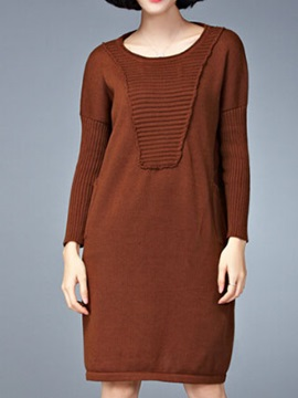 Solid Round Neck Sleeve Sweater Dress