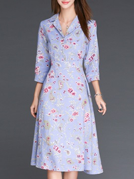 Printing V Neck 3/4 Sleeve Day Dress